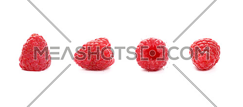 Four fresh red ripe mellow raspberry berries isolated on white background, detail close up in different perspectives, low angle view