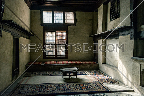 an oriental seating area in the old historic El Sehemy house in cairo egypt