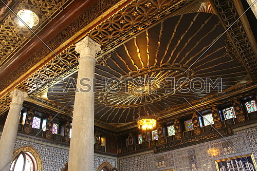 a photo for a ceiling of a historical mosque in Cairo, Egypt showing the style of architecture used in the building