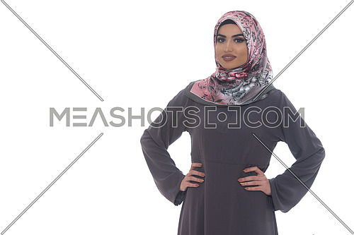 Fashion Portrait Of Young Beautiful Muslim Woman With Scarf Isolated On White Background