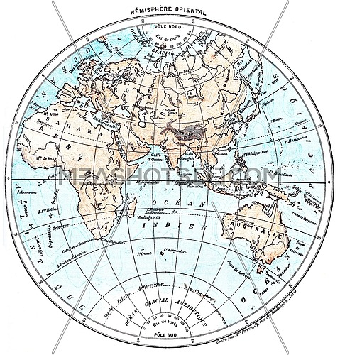 Earth, eastern Hemisphere, vintage engraved illustration. Dictionary of words and things - Larive and Fleury - 1895.