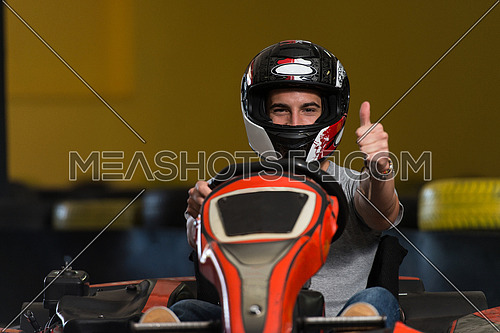 Young Man Is Holding Cup Speed Karting Race