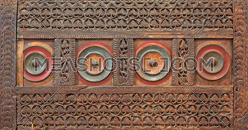Mamluk era style wooden engraved panel decorated with floral and geometric patterns, Museum of Islamic Art, Cairo, Egypt