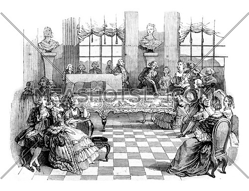 A concert in the eighteenth century, vintage engraved illustration. Magasin Pittoresque 1844.