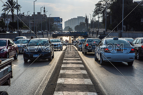 Long Shot for traffic from outside  Al Orouba Tunnel at Daytime