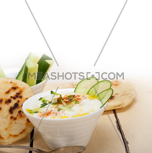 Arab middle east salatit laban wa kh'yar Khyar Bi Laban goat yogurt and cucumber salad
