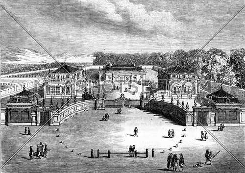 China Trianon, Versailles, originally designed in 1670, destroyed in 1687, vintage engraved illustration. Magasin Pittoresque 1857.