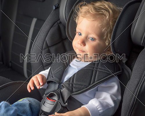 Baby boy 8 months old in a safety car seat.