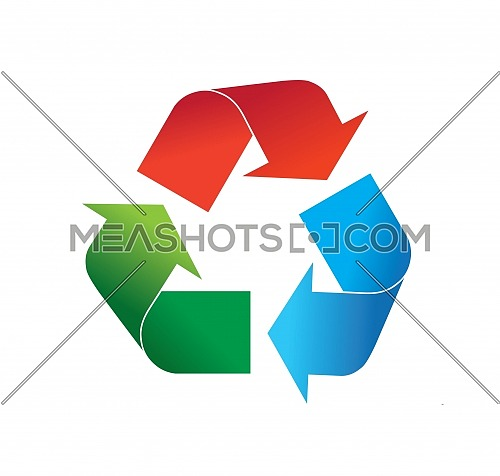 Multi colored red, green and blue recycling logo icon vector illustration, isolated on white background