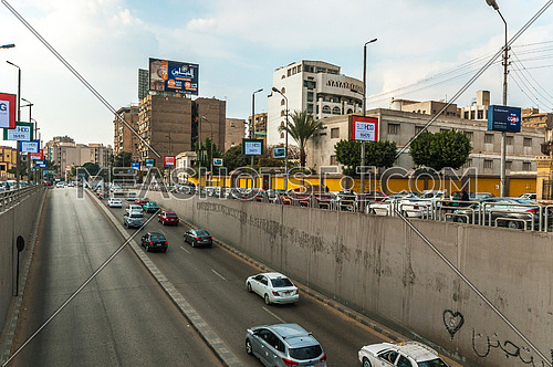 Long Shot for traffic from above  Al Thawra Tunnel at Daytime