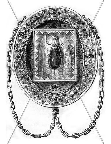 The Blessed ampoule, vintage engraved illustration. Magasin Pittoresque 1846.