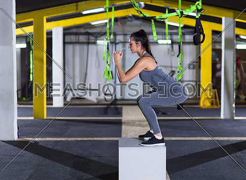 young athletic woman training  jumping on fit box at crossfitness gym