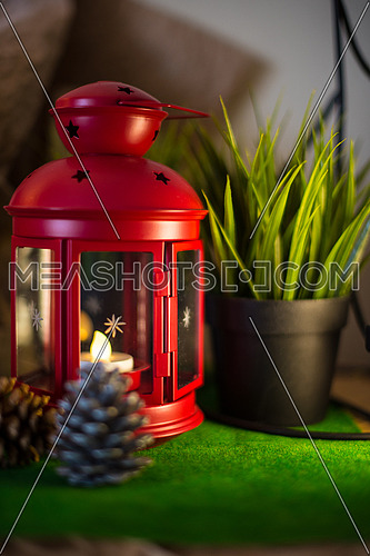 red lantern Lamp and Greenery