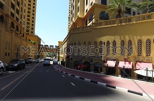 Car point of view shot of a car moving in dubai streets