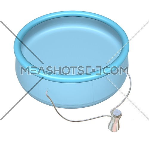 Kiddie Inflatable Swimming Pool, blue, 3D illustration, isolated on white