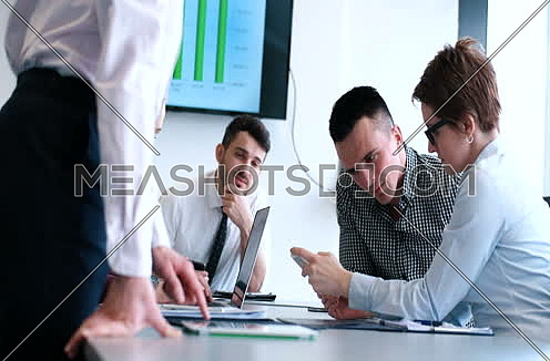 Business Partners Meeting In Modern Office at day
