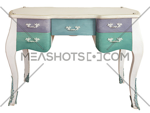 Retro white ornate wooden desk table with five colored drawers isolated on white background