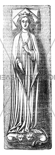 Effigy of Queen Eleanor, placed on his tomb in Westminster, vintage engraved illustration. Colorful History of England, 1837.