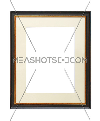 Vintage old wooden brown classic frame with golden edge and cardboard mat (passe partout mount) for picture or photo, isolated on white background, close up