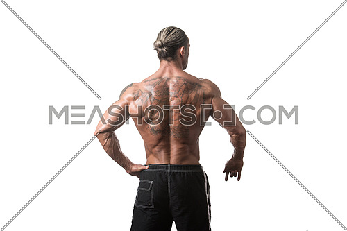 Back Rear View Tattooed Male Bodybuilder On Isolated White Background