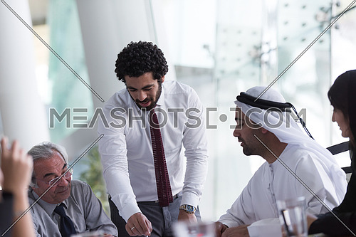 middle eastern business people group on meeting at modern  office