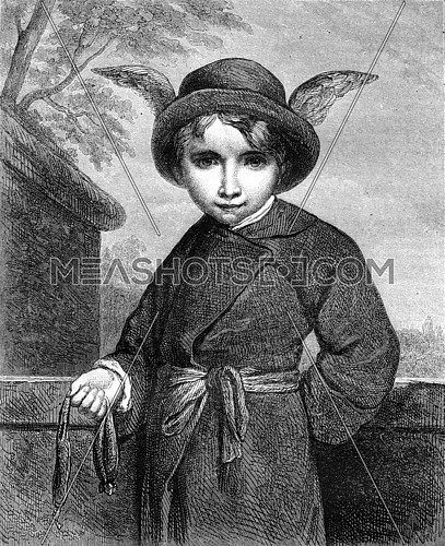 The Schoolboy with wings of Mercury, vintage engraved illustration. Magasin Pittoresque 1870.