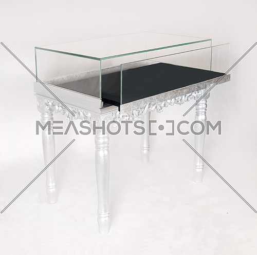 silver display table isolated on white