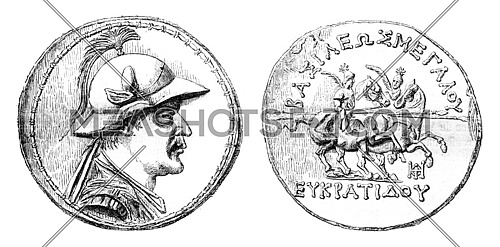 Gold Medal Eucratides, the Cabinet of medals of the Imperial Library, vintage engraved illustration. Magasin Pittoresque 1870.
