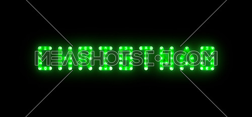 Close up green neon glowing bright led light CHRISTMAS sign on black background