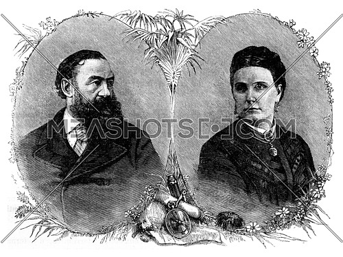 Portraits of Sir Samuel and Lady Baker, vintage engraved illustration. Journal des Voyage, Travel Journal, (1880-81).