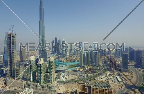 Arial shot for Dubai City Using Drone showing Burj Khalifa in Dubai at Day