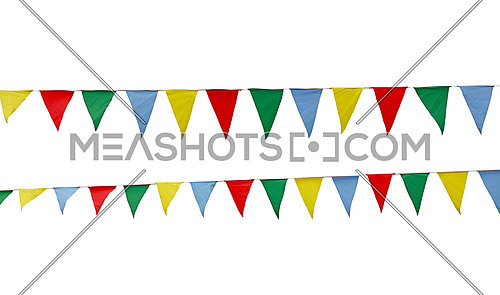 Close up many triangle multicolor red, green, blue and yellow festive colorful textile flags hanging on string rope, isolated on white background