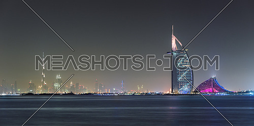 Dubai Burj Al arab and Burj Khalifa Horizon at night