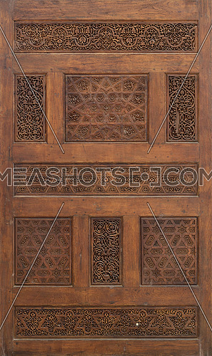 Fatimid era style wooden sculpted panel decorated with floral and geometric patterns, Cairo, Egypt