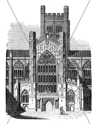 Cathedral of Bath, vintage engraved illustration. Colorful History of England, 1837.