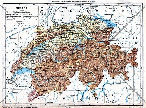 The map of Switzerland with explanation of signs on it.