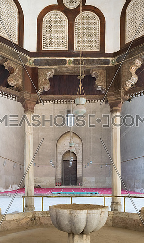 View from inside the Ablution fountain of Mosque of Sultan Hasan overlooking the court, Cairo, Egypt