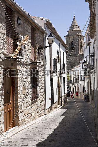 Typical  street of Sabiote toward the church, Jaen, Spain