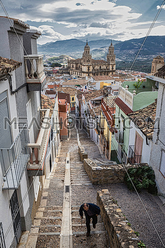 Jaen, Spain - October 23, 2016: Popular district of steep and narrow streets near the cathedral, taken in Jaen, Andalucia, Spain