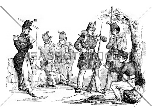 New changes in equipment and clothing of the infantry, vintage engraved illustration. Magasin Pittoresque 1842.