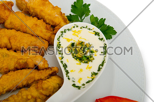 Chicken kebab in the plate