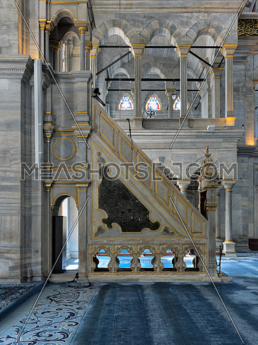 Side view of white marble floral golden ornate minbar (Platform) of Nuruosmaniye Mosque, Istanbul, Turkey