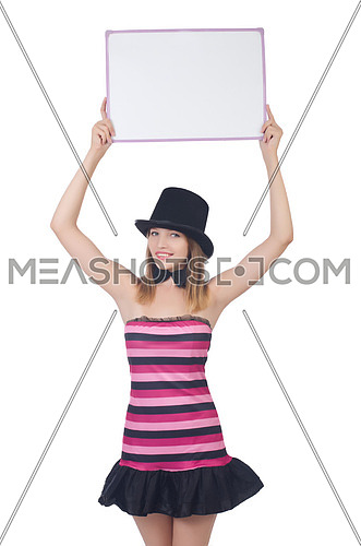 A young woman with hat isolated on white