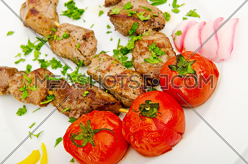Kebabs served in the plate