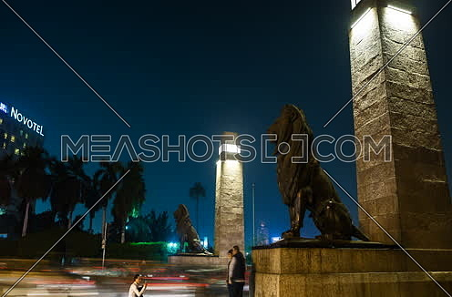 Track Right Side Shot for Qasr Al Nile Bridge at Night