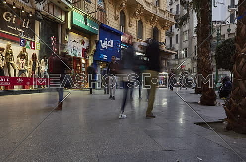 Fixed Shot for People Walking at Talat Harb Square at Cairo at Day