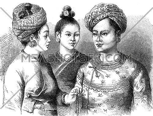 King Muong You and his two wives, vintage engraved illustration. Le Tour du Monde, Travel Journal, (1872).
