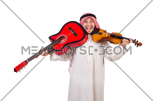 Arab musician with violin and guitar isolated on whit