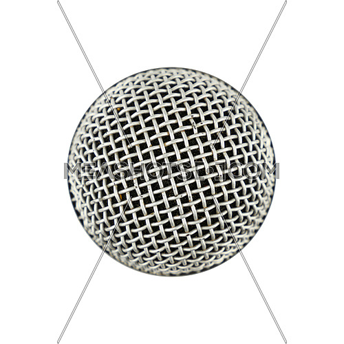 Microphone top view isolated on white background, close up, personal perspective