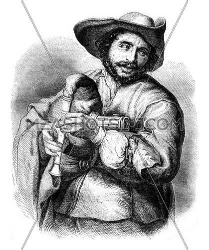Francois Langlois, bookseller of the seventeenth century, vintage engraved illustration. Magasin Pittoresque 1852.